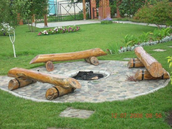 Flagstone Log Fire Pit