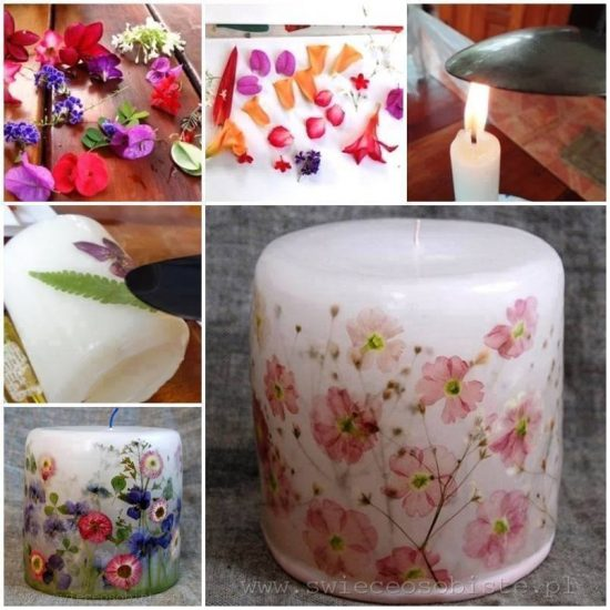 Dried Flower Decoupage Candles