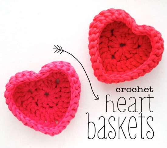 Crochet Storage Heart Baskets Free Pattern