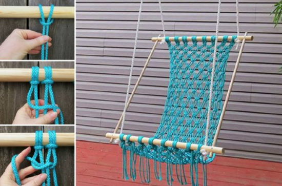 Macrame hanging chair diy is super easy to make for Diy macrame baby swing