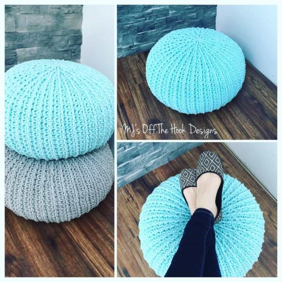 Crochet floor pouf and ottoman free patterns the whoot - Design pouf ...