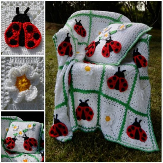 Ladybug Crochet Blanket and Pillow Set