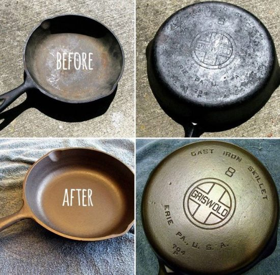 Remove rust from cast iron cookware