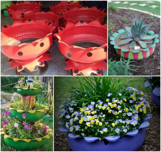 Recycled Tire Flower Planter