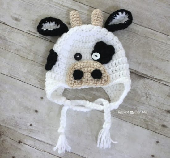Cow Crochet Hat Free Pattern
