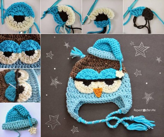 Cute Crochet Drowsy Owl Hat Pattern