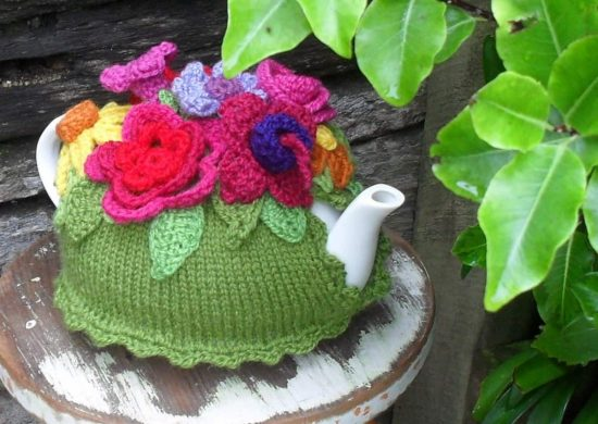 Knitted Spring Explosion Tea Cozy Pattern