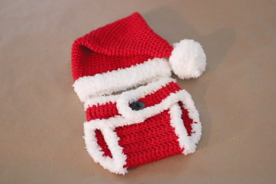 Santa Hat and Diaper Cover Crochet Pattern