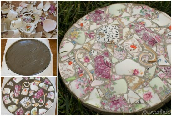 how to make mosaic stepping stones with kids