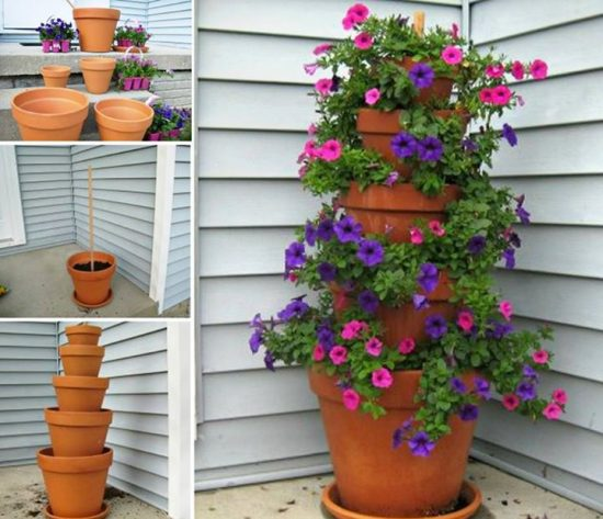 clay pot flower tower an easy diy video the whoot