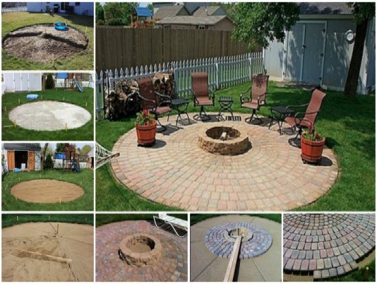 circular fire pit patio