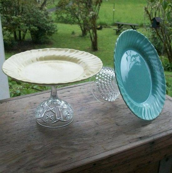 Op Shop Plate and Glass Cake Stand