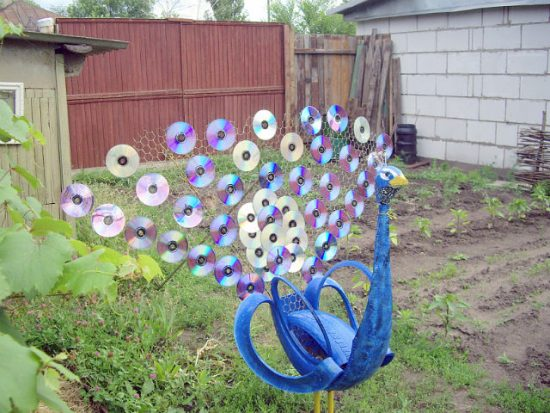 Tire Peacock made with CD's and Chicken Wire