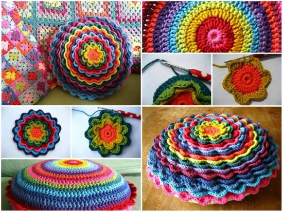 Blooming Flower Cushion Free Crochet Pattern