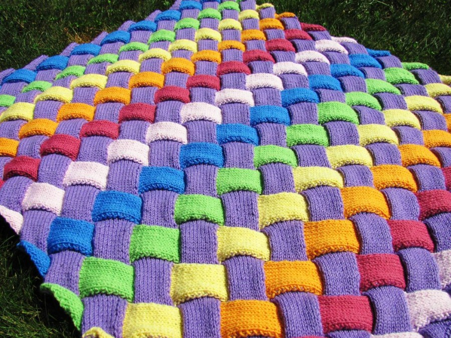 Entrelac Knitted Blanket Free Pattern