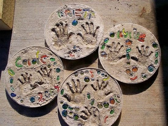 cement hand print stepping stones