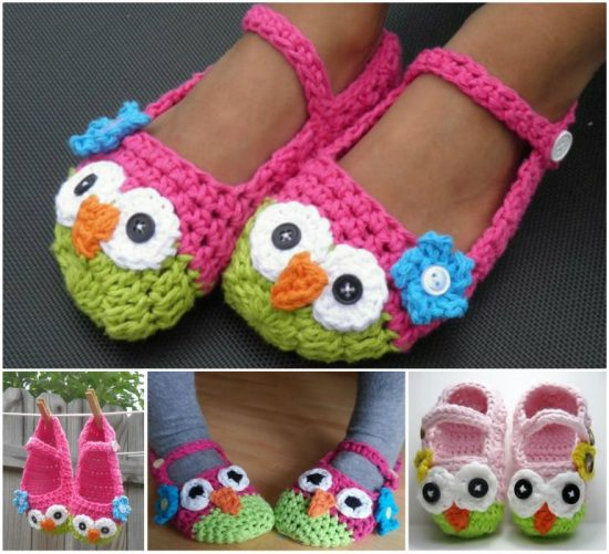 Crochet Mary Jane Owl Slippers Free Pattern