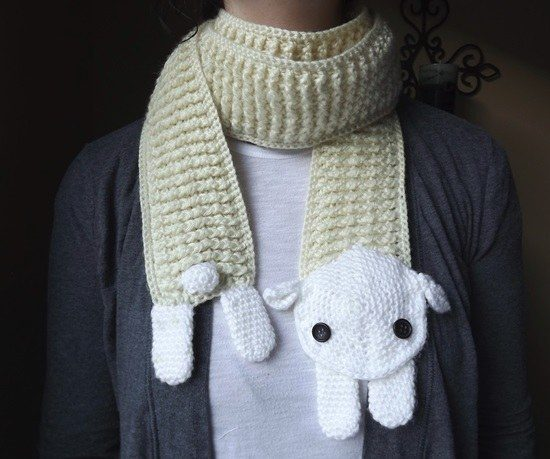 Crochet Sheep Scarf Pattern
