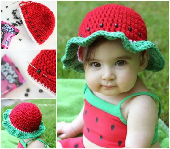Watermelon Sun Hat Free Crochet Pattern