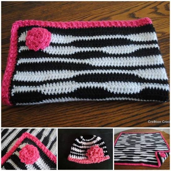 Zebra Baby Crochet Blanket and Hat FREE Pattern