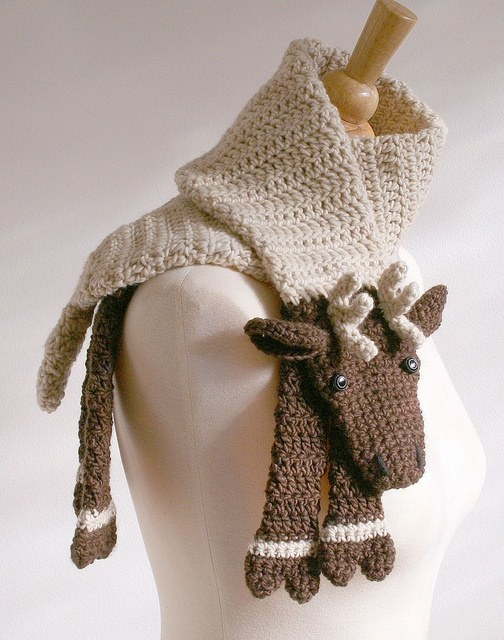 Crochet Animal Scarf - Crochet Reindeer Scarf Pattern