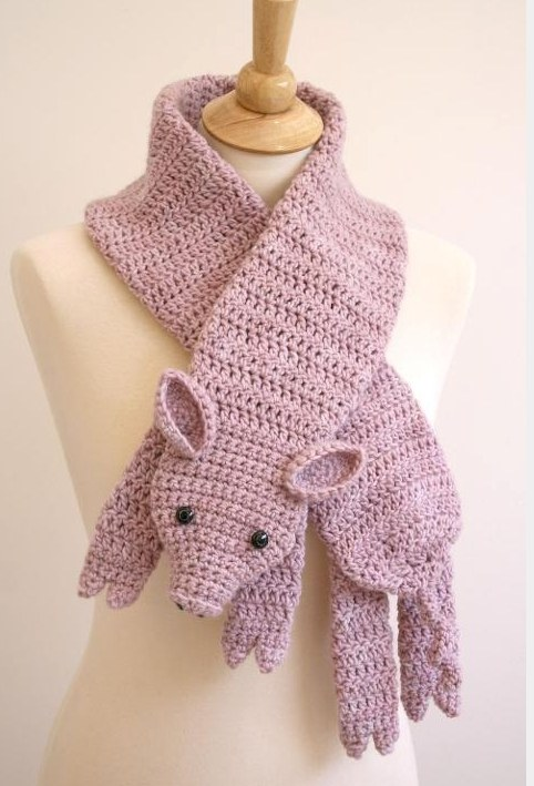 Crochet Animal Scarf - Crochet Pig Scarf