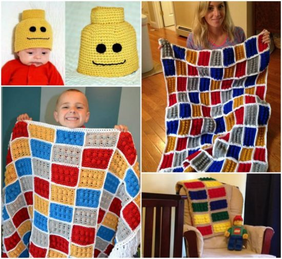 Crochet Lego Blanket and Hat Set