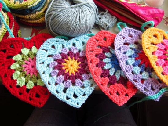 Crochet Love Hearts Free Pattern