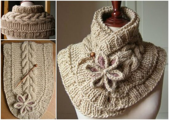 Knitted Flower Scarf Free Pattern