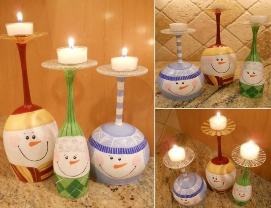 Wine Glass Snowman Candle Holders