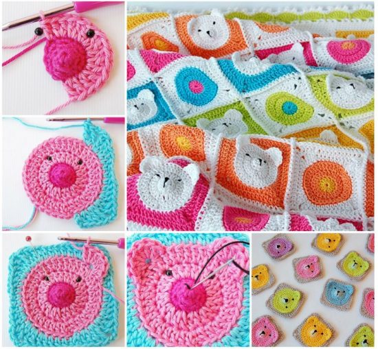 Teddy Bear Granny Square Blanket