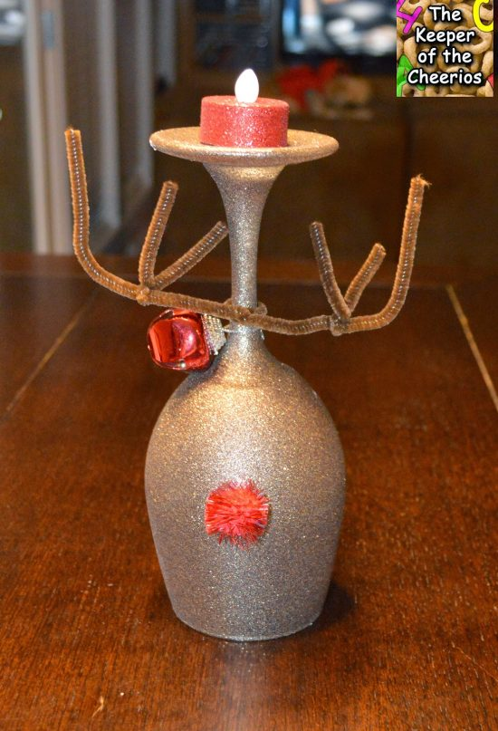 Christmas Reindeer Wine Glass Candle Holders