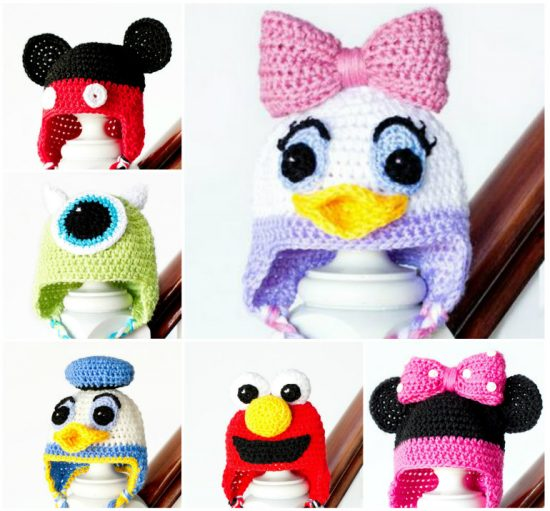 Crochet Character Hats all free patterns