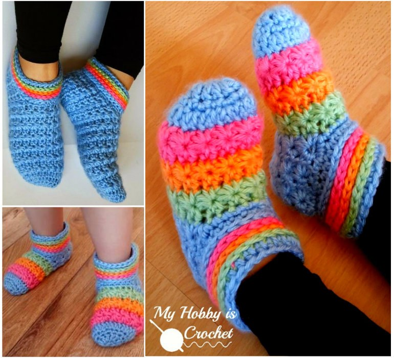 Crochet Starlight Slippers FREE Pattern in Child and Adult Sizes