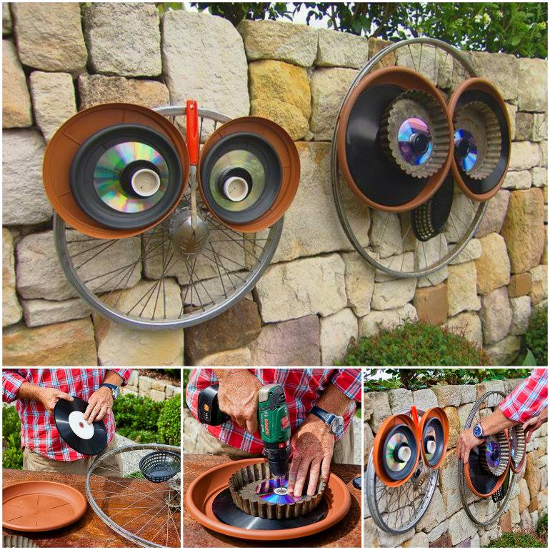 Adorable recycled bicycle wheel owl art the whoot Better homes and gardens website australia