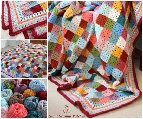 Crochet Giant Granny Square Patches free pattern