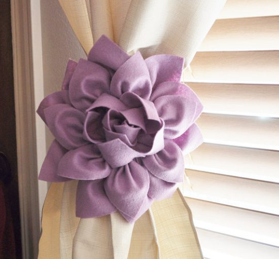 Dahlia Felt Flower Curtain Tie Back