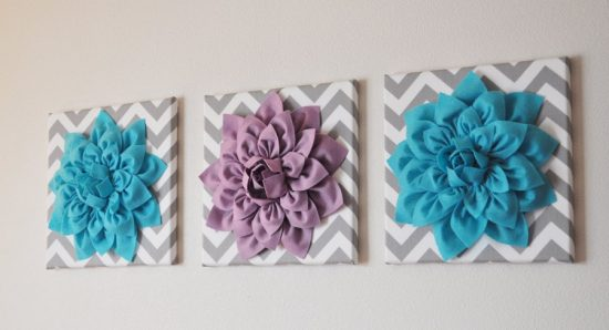 Dahlia Felt Flower Wall Art