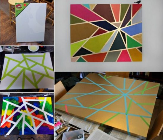 Painting Ideas With Tape: Tape Painting Canvas