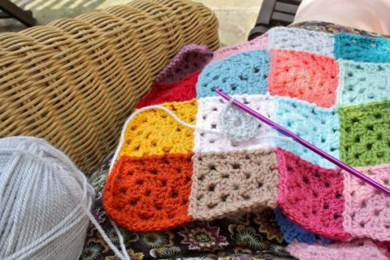 Giant Crochet Granny Square Patches Free Pattern