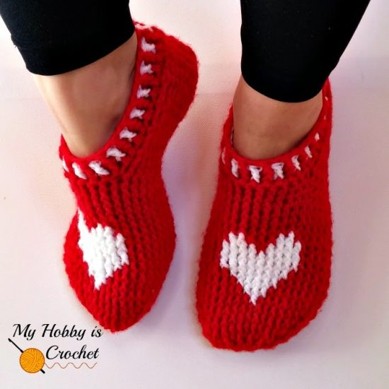 Heart Slippers Free Pattern