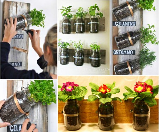 Mason Jar Wall Planters DIY