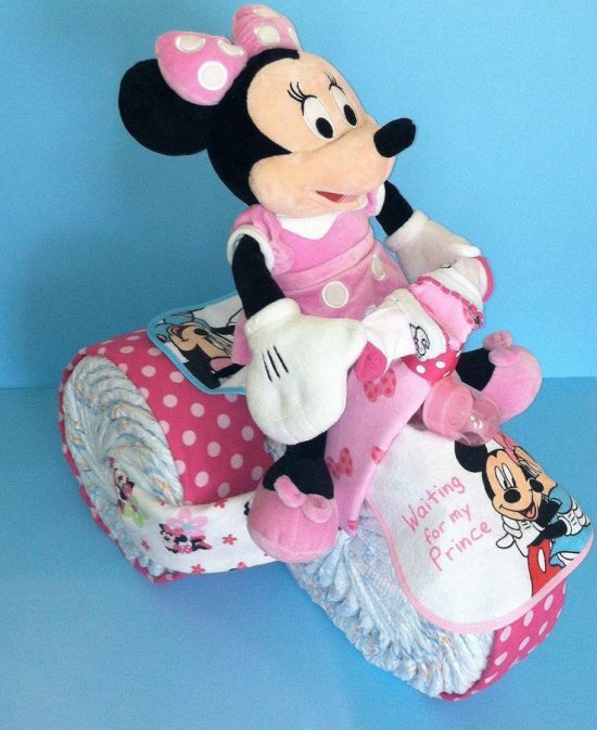 Minnie Mouse Tricycle Diaper Cake