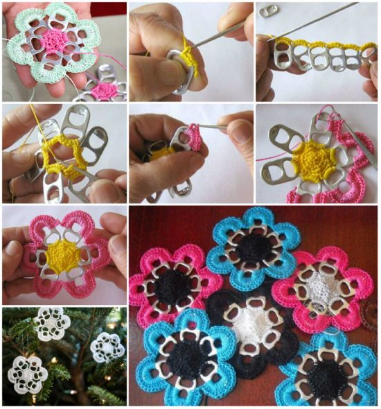 Soda Can Crochet Flowers Free Pattern