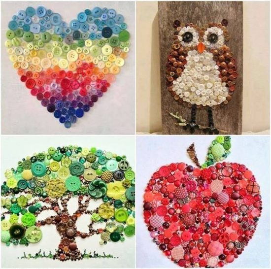Heart, Owl, Tree, Apple Button Wall Art