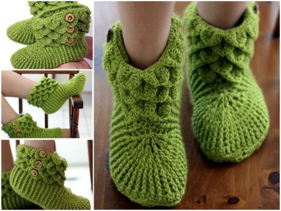 Crocodile Crochet Stitch Slipper Boots Pattern