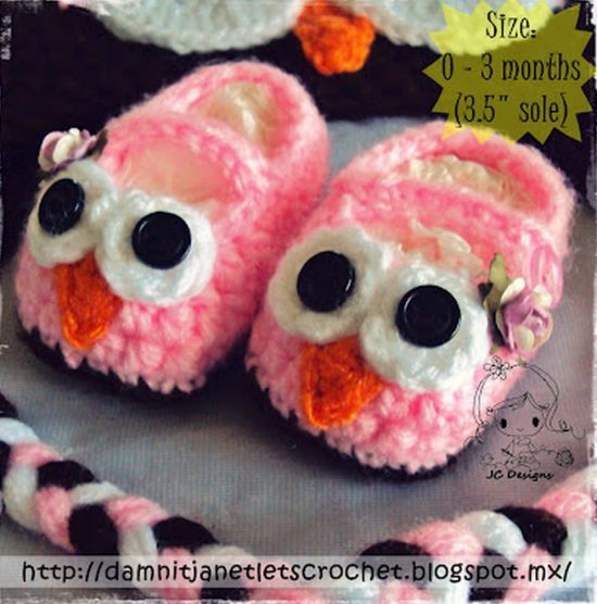 Owl Crochet Mary Jane Booties Free Pattern