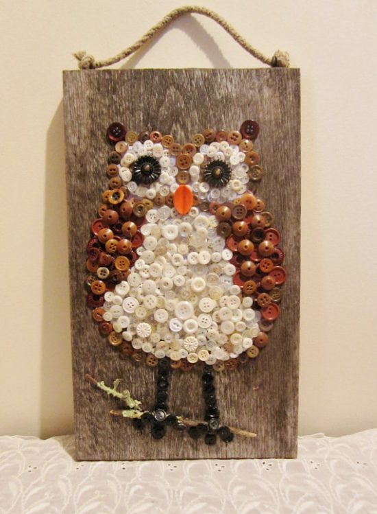 Owl Button Wall Art