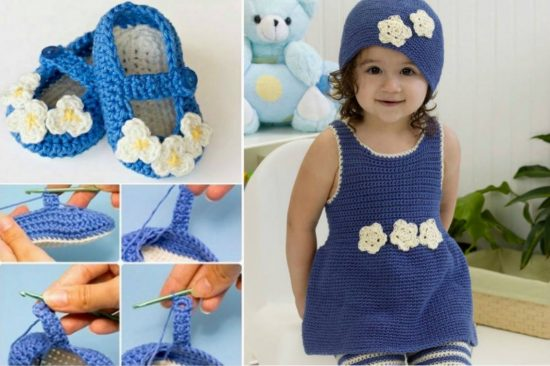Romper and Mary Jane Booties Free Crochet Pattern