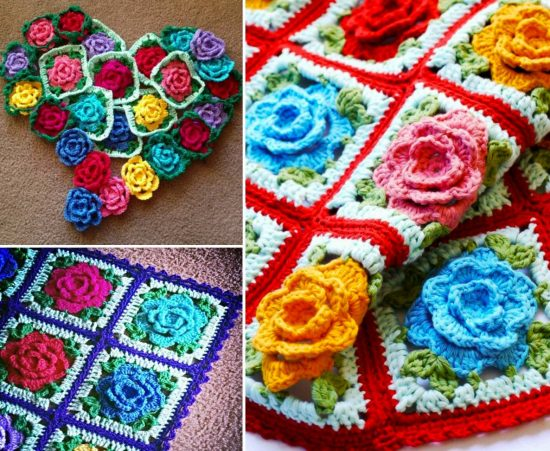 Rose Grany Square Crochet Free Pattern
